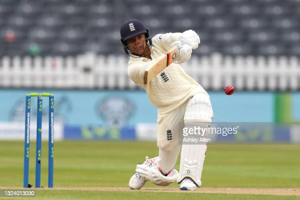 Sophia Dunkley of England hits the ball down the ground on Day Two of the LV= Insurance Test Match between England Women and India Women at Bristol...