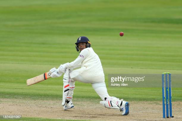 Sophia Dunkley of England plays a sweep-shot on Day Two of the LV= Insurance Test Match between England Women and India Women at Bristol County...