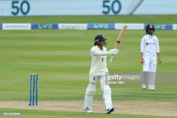 Sophia Dunkley of England reaches 50 during her Test debut on Day Two of the LV= Insurance Test Match between England Women and India Women at...