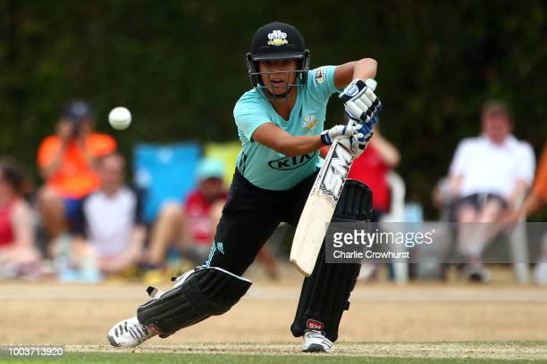 Sophia Dunkley of Surrey Stars hits out during the Kia Super League match between Surrey Stars and Southern Vipers on July 22, 2018 in Guildford,...