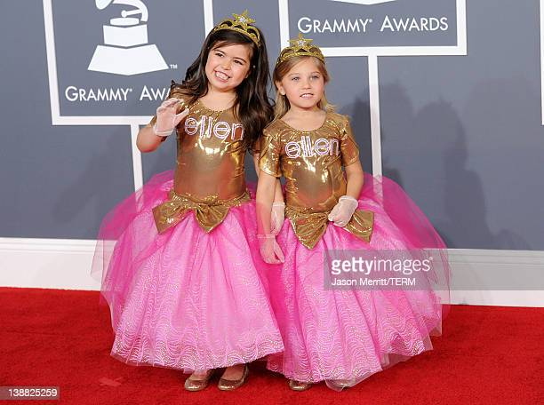 Sophia Grace and Rosie arrive at the 54th Annual GRAMMY Awards held at Staples Center on February 12 2012 in Los Angeles California