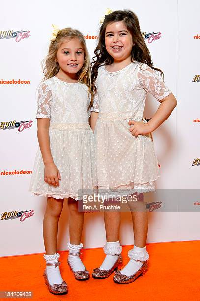 Sophia Grace and Rosie Brownlee attends the UK Premiere of Sam Cat at Cineworld 02 Arena on October 12 2013 in London England