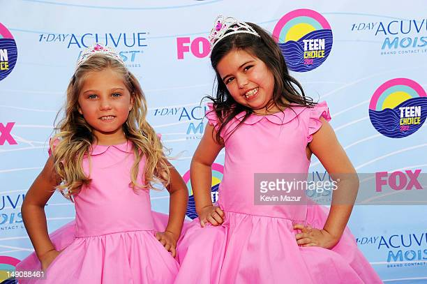 Sophia Grace Brownlee and Rosie McClelland arrive at the 2012 Teen Choice Awards at Gibson Amphitheatre on July 22 2012 in Universal City California