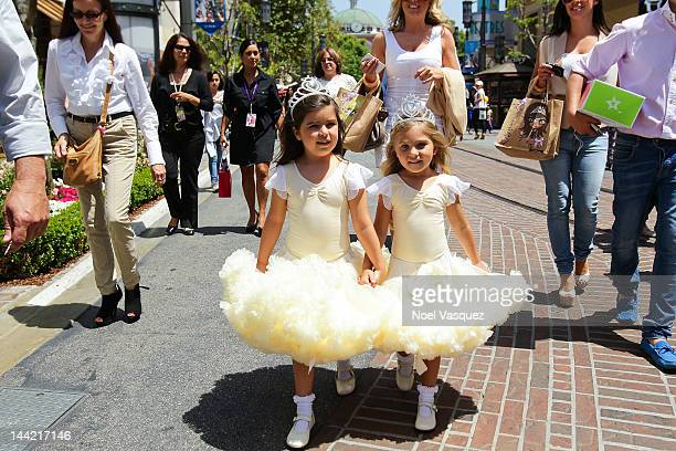 Sophia Grace Brownlee and Rosie McClelland visit 'Extra' at The Grove on May 11 2012 in Los Angeles California