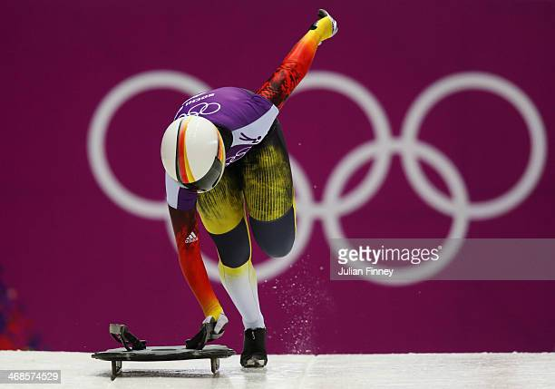 Sophia Griebel of Germany makes a run during a Women's Skeleton training session on Day 4 of the Sochi 2014 Winter Olympics at the Sanki Sliding...