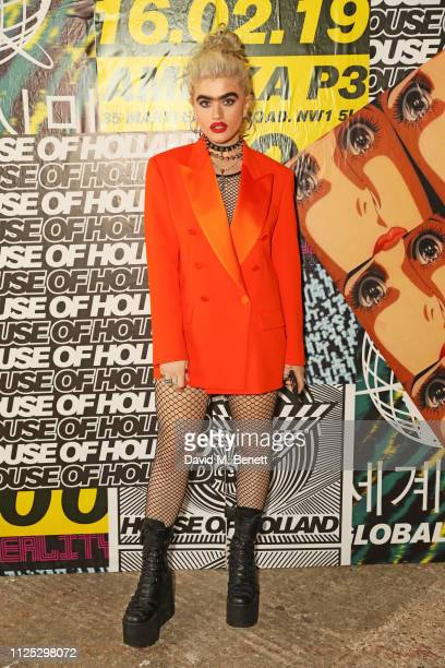 Sophia Hadjipanteli attends the House of Holland AW19 London Fashion Week catwalk show showcasing the limitededition Vype ePen 3 / vaping pendant...