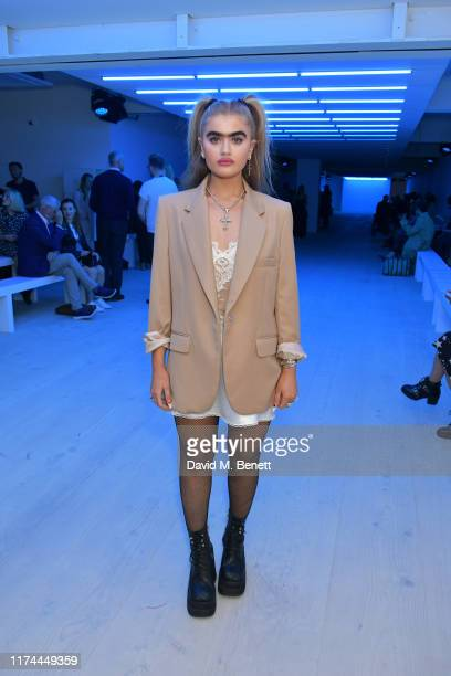 Sophia Hadjipanteli attends the Roberta Einer front row during London Fashion Week September 2019 at the BFC Show Space on September 13 2019 in...