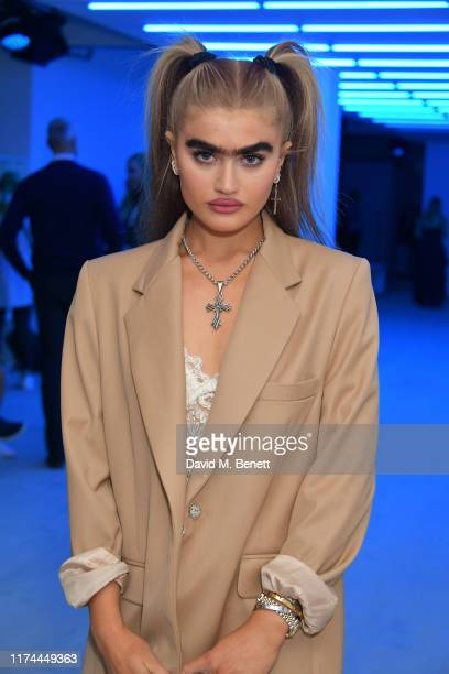Sophia Hadjipanteli attends the Roberta Einer front row during London Fashion Week September 2019 at the BFC Show Space on September 13, 2019 in...