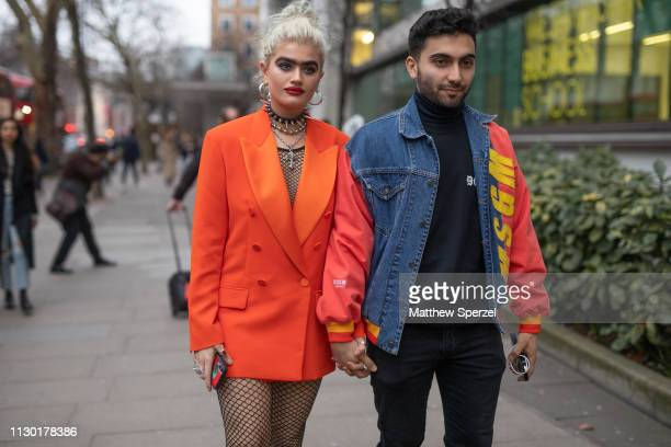 Sophia Hadjipanteli is seen on the street during London Fashion Week February 2019 wearing House of Holland on February 16 2019 in London England
