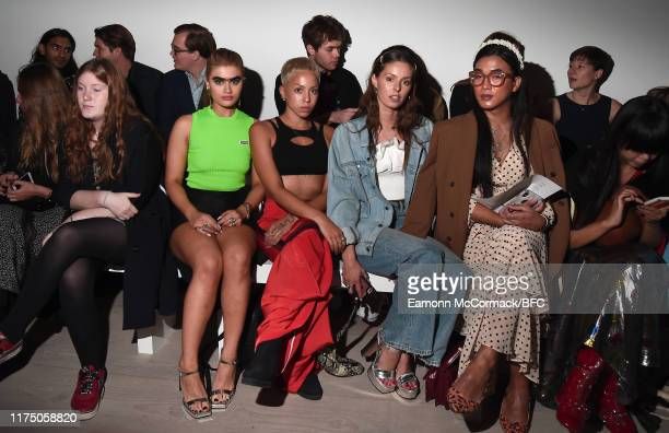 Sophia Hadjipanteli Poppy Ajudha and guests attend the Richard Malone show during London Fashion Week September 2019 at the BFC Show Space on...