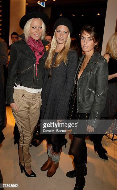 Sophia Hesketh Poppy Delevingne and Marina Hanbury attend the book launch of 'Vogue Covers' at Chanel Brompton Road on October 17 2007 in London...