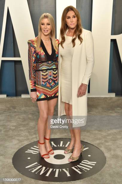 Sophia Hutchins and Caitlyn Jenner attend the 2020 Vanity Fair Oscar Party at Wallis Annenberg Center for the Performing Arts on February 09 2020 in...