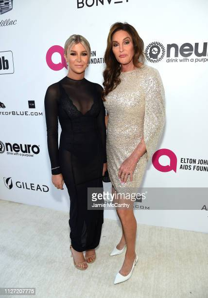 Sophia Hutchins and Caitlyn Jenner attend the 27th annual Elton John AIDS Foundation Academy Awards Viewing Party sponsored by IMDb and Neuro Drinks...