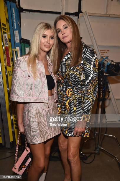 Sophia Hutchins and Caitlyn Jenner pose backstage at the Jeremy Scott show during New York Fashion Week The Shows at Gallery I at Spring Studios on...