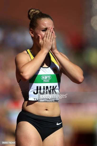 Sophia Junk of Germany celebrates after winning gold in the final of the women's 4x100m on day five of The IAAF World U20 Championships on July 10...
