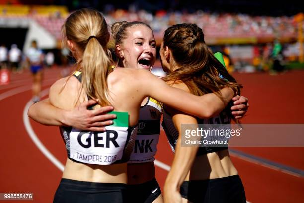 Sophia Junk of Germany celebrates with her team mates after winning gold in the final of the women's 4x100m on day five of The IAAF World U20...