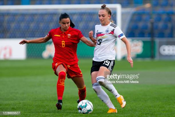 Sophia Kleiherne of Germany competes against Djokovic of Montenegro during the UEFA Women's EURO 2022 Qualifier match between Montenegro and Germany...