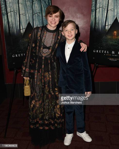 Sophia Lillis and Sammy Leaky attend the Los Angeles Special Screening of Gretal Hanselon January 22 2020 in Los Angeles California