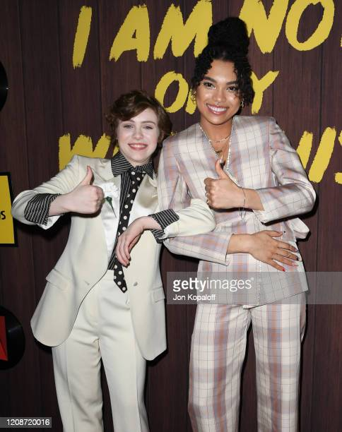 Sophia Lillis and Sofia Bryant attend Netflix's I Am Not Okay With This Photocall at The London West Hollywood on February 25 2020 in West Hollywood...