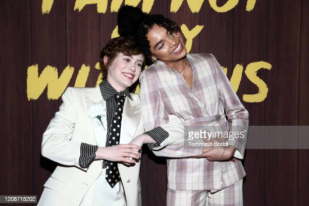 Sophia Lillis and Sofia Bryant attend the Netflix's I Am Not Okay With This Photocall at The London West Hollywood on February 25 2020 in West...