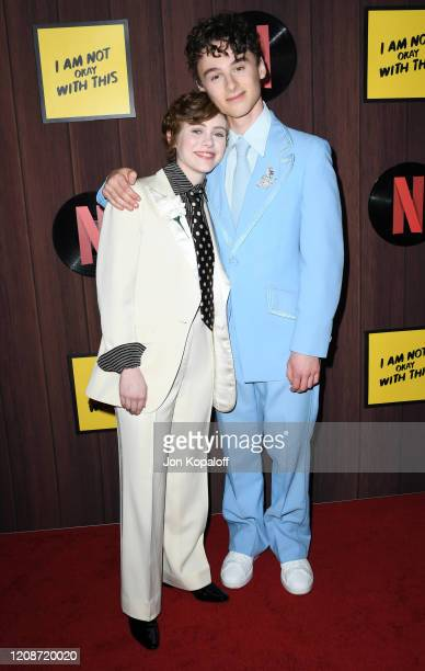 Sophia Lillis and Wyatt Oleff attend Netflix's I Am Not Okay With This Photocall at The London West Hollywood on February 25 2020 in West Hollywood...