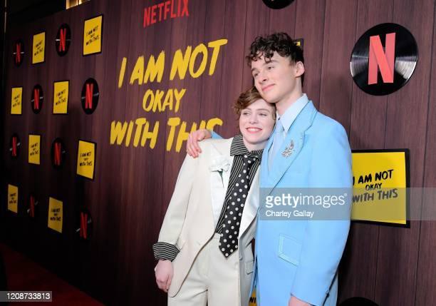 Sophia Lillis and Wyatt Oleff attend the premiere of Netflix's I Am Not Okay With This at The London West Hollywood on February 25 2020 in West...