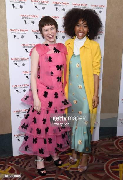 Sophia Lillis and Zoe Renee attend the red carpet premiere of Nancy Drew and the Hidden Staircase at AMC Century City 15 on March 10 2019 in Century...