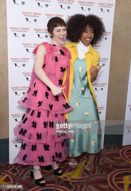 Sophia Lillis and Zoe Renee attend the red carpet premiere of 'Nancy Drew and the Hidden Staircase' at AMC Century City 15 on March 10 2019 in...