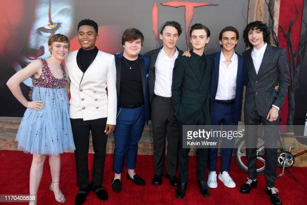 Sophia Lillis Chosen Jacobs Jeremy Ray Taylor Wyatt Oleff Jaeden Martell Jack Dylan Grazer and Finn Wolfhard attend the Premiere of Warner Bros...