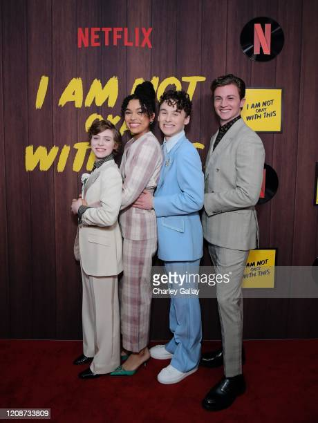 Sophia Lillis Sofia Bryant Wyatt Oleff and Richard Ellis attend the premiere of Netflix's I Am Not Okay With This at The London West Hollywood on...