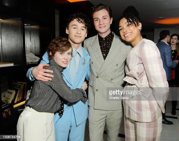 Sophia Lillis Wyatt Oleff Richard Ellis and Sofia Bryant attend the premiere of Netflix's I Am Not Okay With This at The London West Hollywood on...