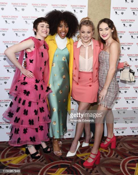 Sophia Lillis Zoe Renee Laura Slade Wiggins and Mackenzie Graham arrive at the World Premiere of Nancy Drew And The Hidden Staircase at AMC Century...
