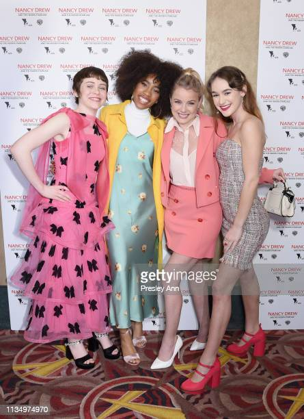 Sophia Lillis Zoe Renee Laura Wiggins and Mackenzie Graham attend the red carpet premiere of Nancy Drew and the Hidden Staircase at AMC Century City...