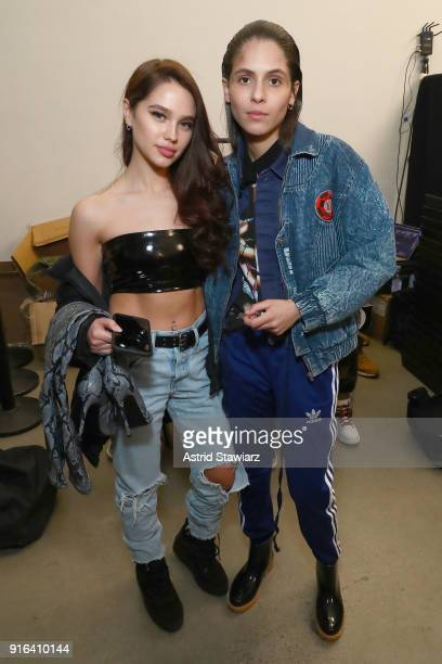 Sophia Lodato and 070 Shake pose backstage for Telfar during New York Fashion Week presented by Made at Gallery I at Spring Studios on February 9...