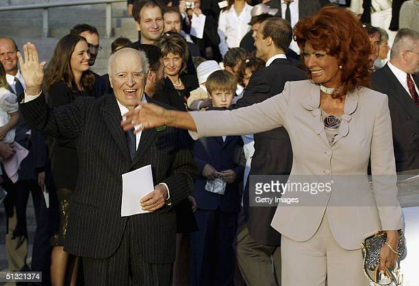 Sophia Loren and Carlo Ponti snr attend the wedding of Carlo Ponti Jr and Andrea Meszaros September 18 2004 in Budapest Hungary