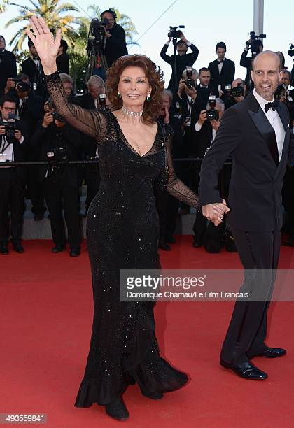 Sophia Loren and Edoardo Ponti attend the Closing Ceremony and A Fistful of Dollars Screening during the 67th Annual Cannes Film Festival on May 24...