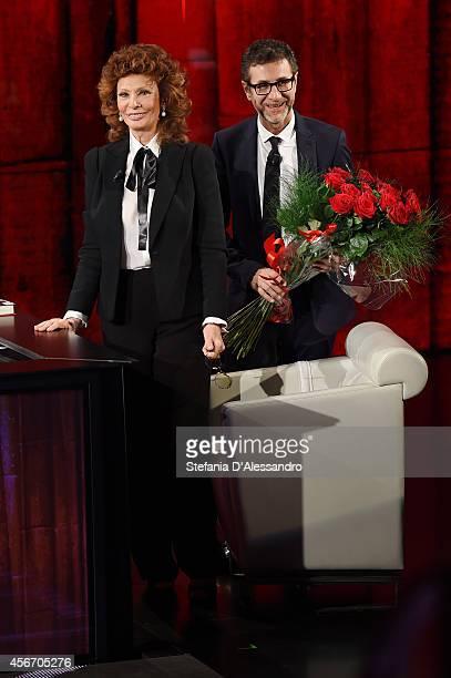 Sophia Loren and Fabio Fazio attend 'Che Tempo Che Fa' Italian Tv Show on October 5 2014 in Milan Italy