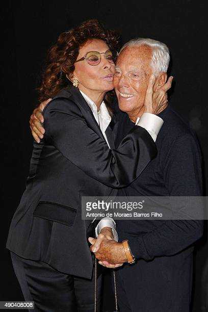 Sophia Loren and Giorgio Armani attend the Giorgio Armani show during the Milan Fashion Week SpTrussardiring/Summer 2016 on September 28, 2015 in...