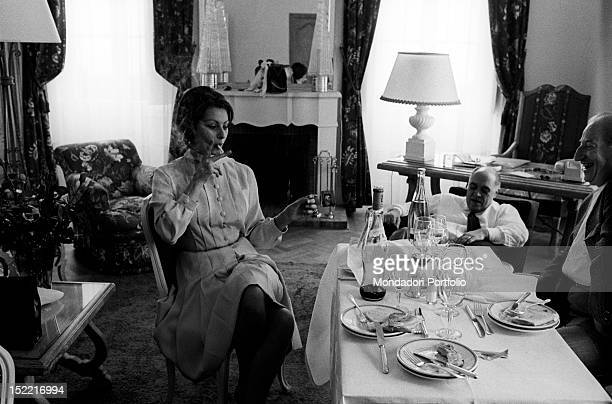 Sophia Loren and her husband Carlo Ponti after their lunch in a hotel during Film Festival Cannes 1966