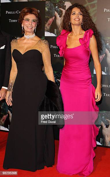 Sophia Loren and Lucia Sofia attends the cocktail reception for the launch of the 2010 Pirelli Calendar at Old Billingsgate Market on November 19...