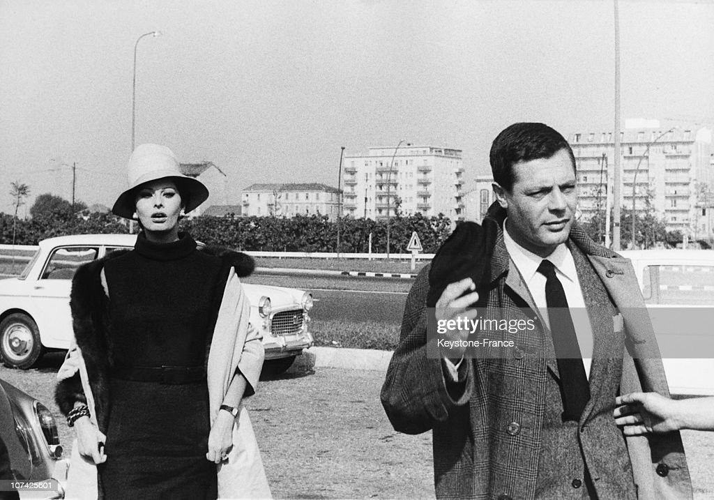 Sophia Loren And Marcello Mastroianni In A Scene Of Yesterday, Today And Tomorrow Movie In Milan On October 1963
