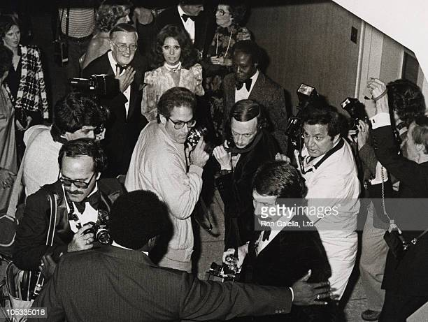 Sophia Loren and Ron Galella with photographers during Coty Awards at Fashion Institute in New York City New York United States