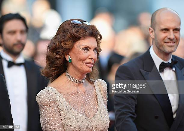 Sophia Loren and son director Edoardo Ponti attend the Voce Umana premiere during the 67th Annual Cannes Film Festival on May 20 2014 in Cannes France