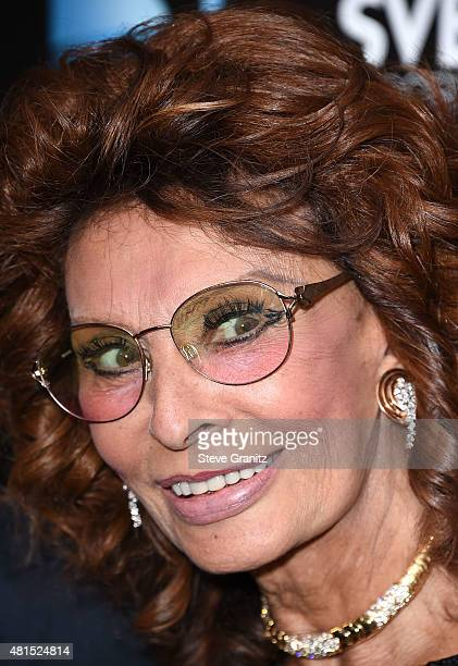 Sophia Loren arrives at the Premiere Of DIRECTV's Dark Places at Harmony Gold Theatre on July 21 2015 in Los Angeles California