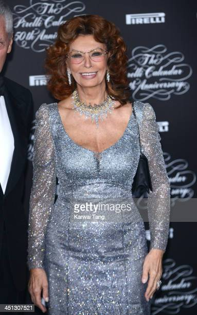 Sophia Loren arrives for Pirelli's 50th anniversary Gala dinner held at HangarBicocca on November 21 2013 in Milan Italy