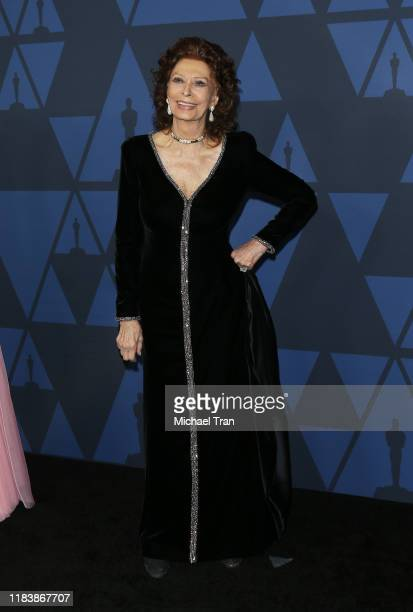 Sophia Loren arrives to the Academy of Motion Picture Arts and Sciences' 11th Annual Governors Awards held at The Ray Dolby Ballroom at Hollywood...