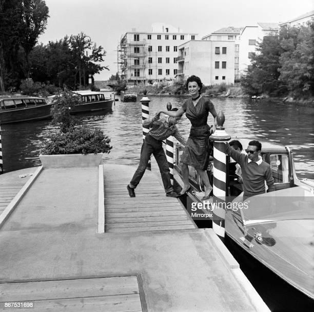 Sophia Loren at the Venice Film Festival stepping off a boat September 1958