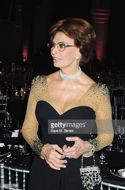 Sophia Loren attends the cocktail reception for the 2010 Pirelli Calendar at the Old Billingsgate Market on November 19 2009 in London England