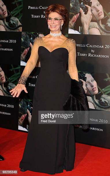 Sophia Loren attends the cocktail reception for the launch of the 2010 Pirelli Calendar at Old Billingsgate Market on November 19 2009 in London...