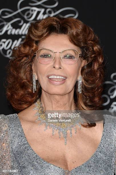 Sophia Loren attends the Pirelli Calendar 50th Anniversary Red Carpet on November 21 2013 in Milan Italy